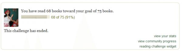 A screenshot of a Goodreads challenge widget.