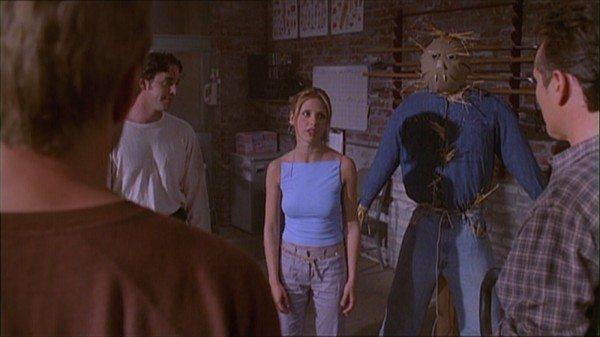 Buffy and Xander examine the new training room.