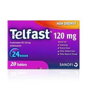 تلفاست، مضاد للحساسية، اقراص، 120 مجم 20 قرص ، لعلاج العطس ،الرشح ،حكة وادماع العين ، حكة الانف او الحلق 24 ساعة .