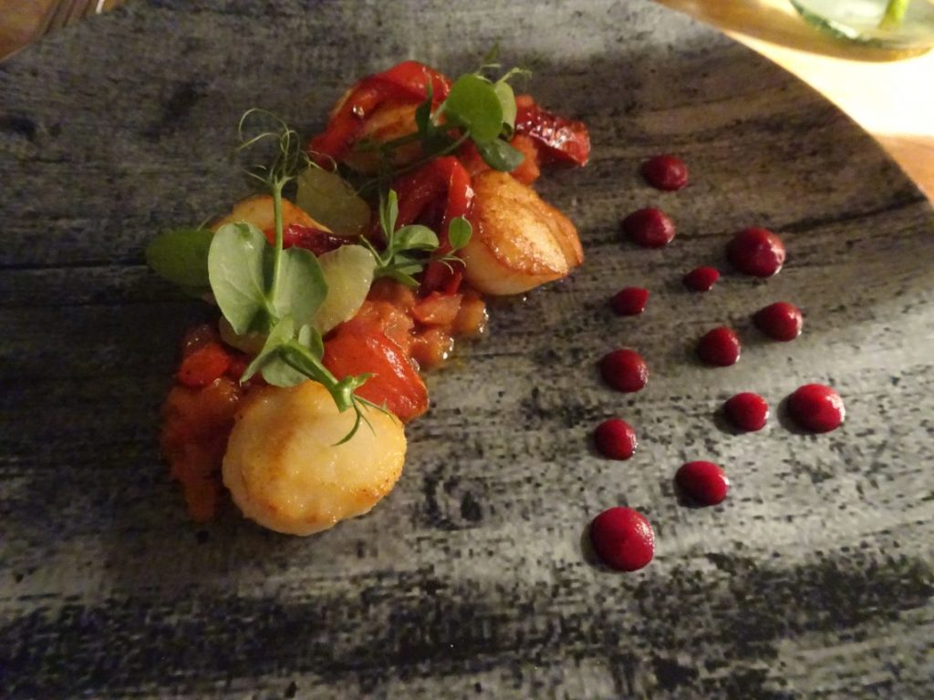 Pan Seared King Scallops, Plum Tomato Chutney, Char Roast Peppers & Lime