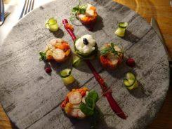 Terrine of Pressed Octopus with Pickled Cucumber & Caviar Foam