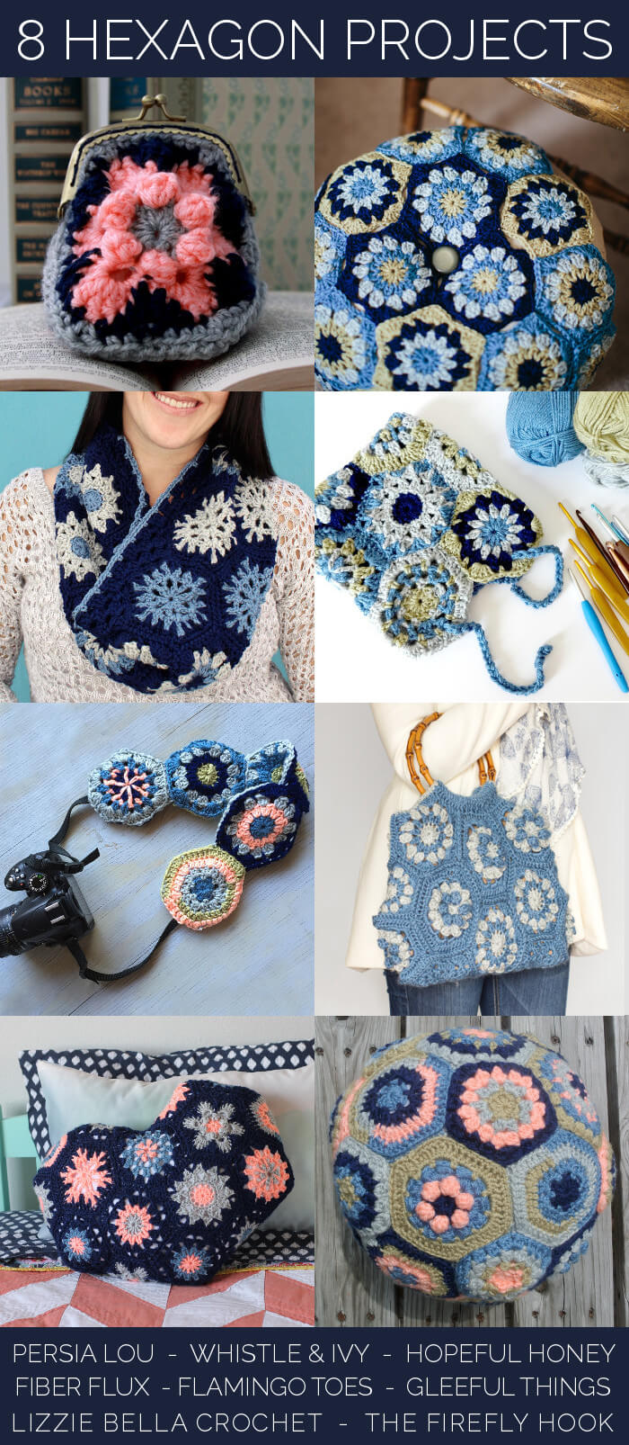 Eight projects to make with crocheted hexagons - lots of fun ideas!