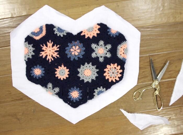 heart shaped hexagon crochet pillow