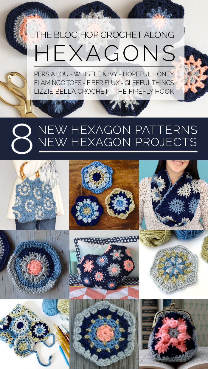 The Blog Hop Crochet Along: Hexagons - learn how to make eight new hexagon patterns and turn those hexagons into eight different projects!