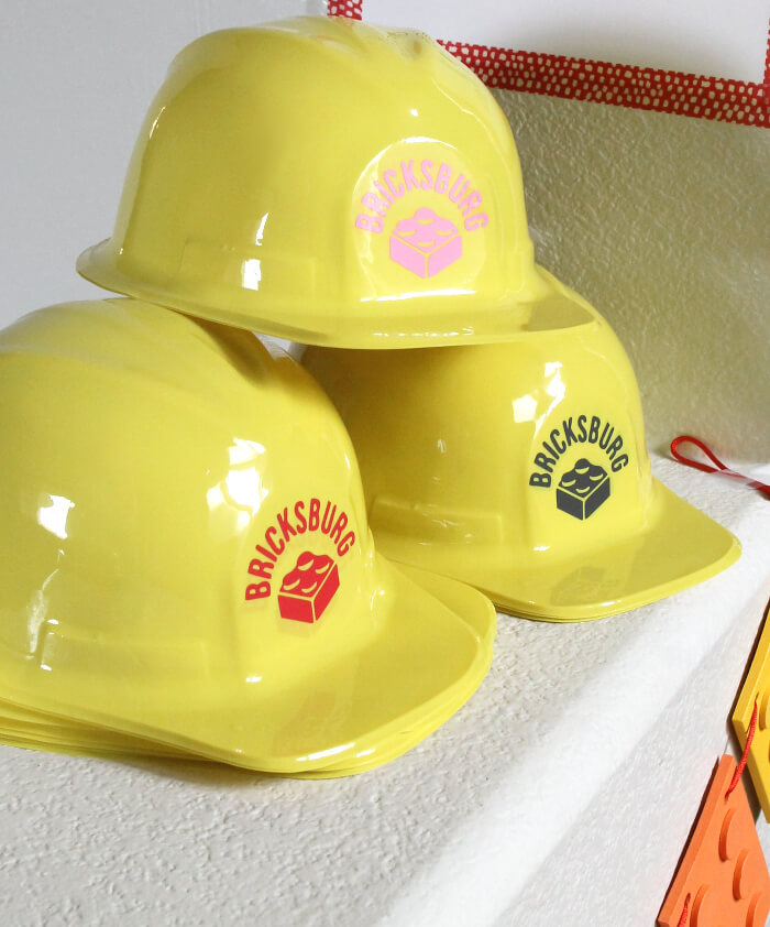 Make DIY Lego construction party hats!