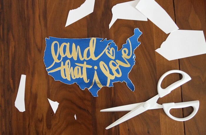 Land that I Love foiled sign for the Fourth of July