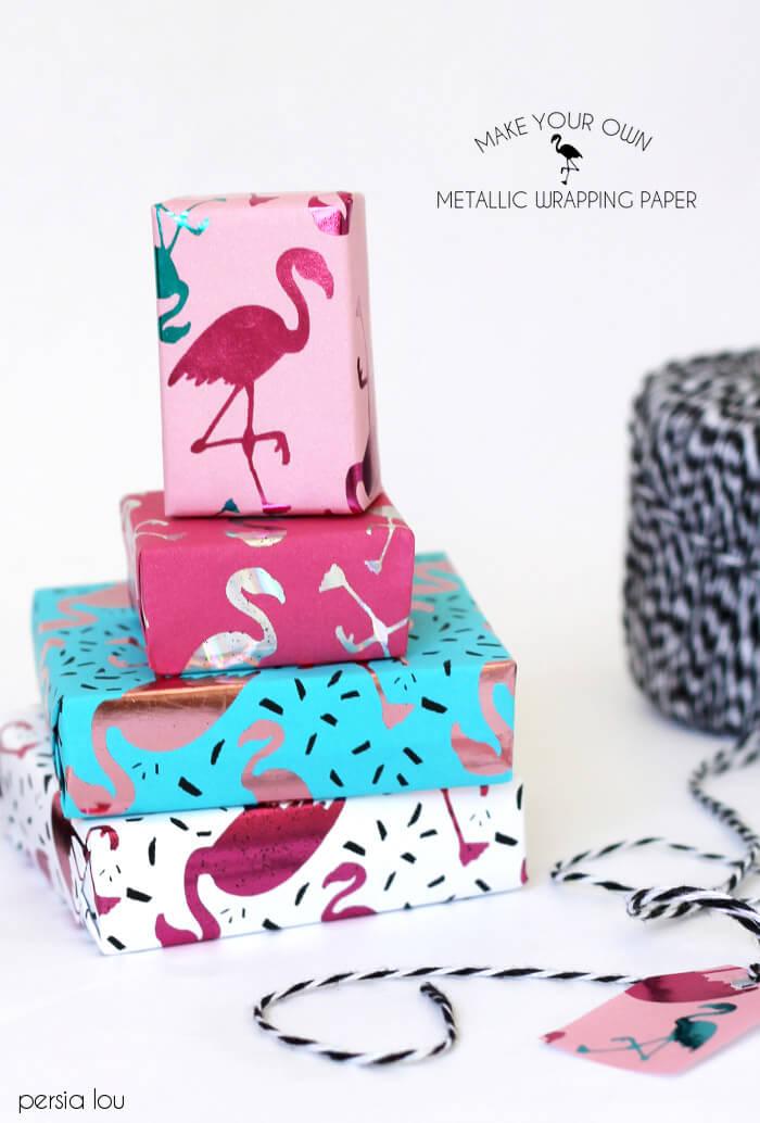 diy metallic wrapping paper - this is so fun! Love the flamingo print