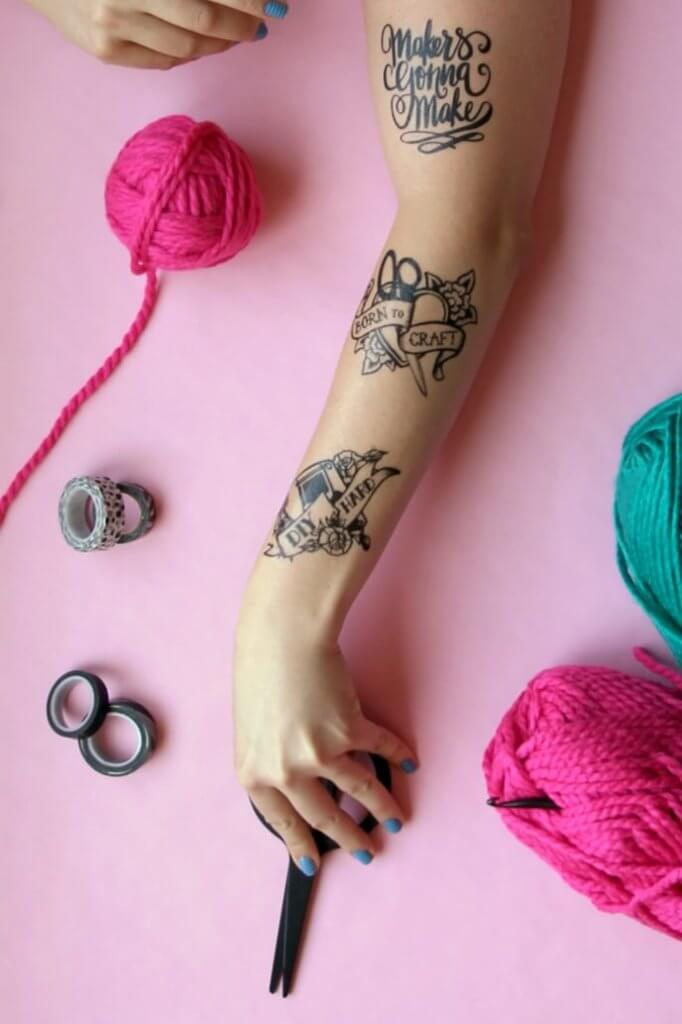 Make your own temporary tattoos perfect for craft and DIY lovers. Three styles for free download.