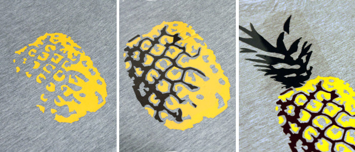 make your own multi-colored pineapple t-shirt with heat transfer vinyl