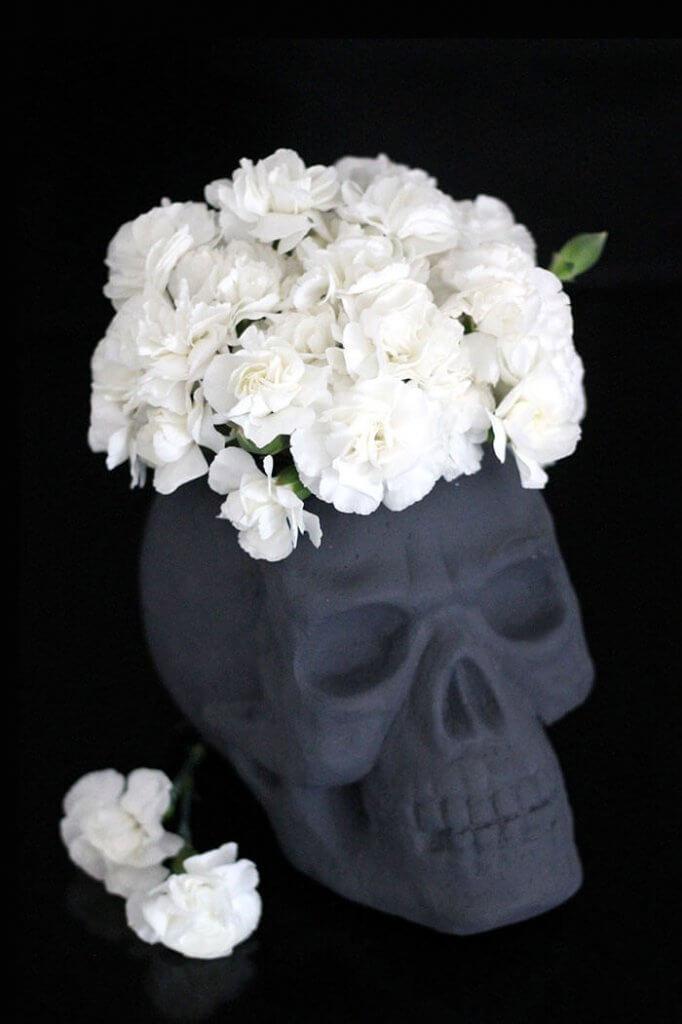 foam skull vase