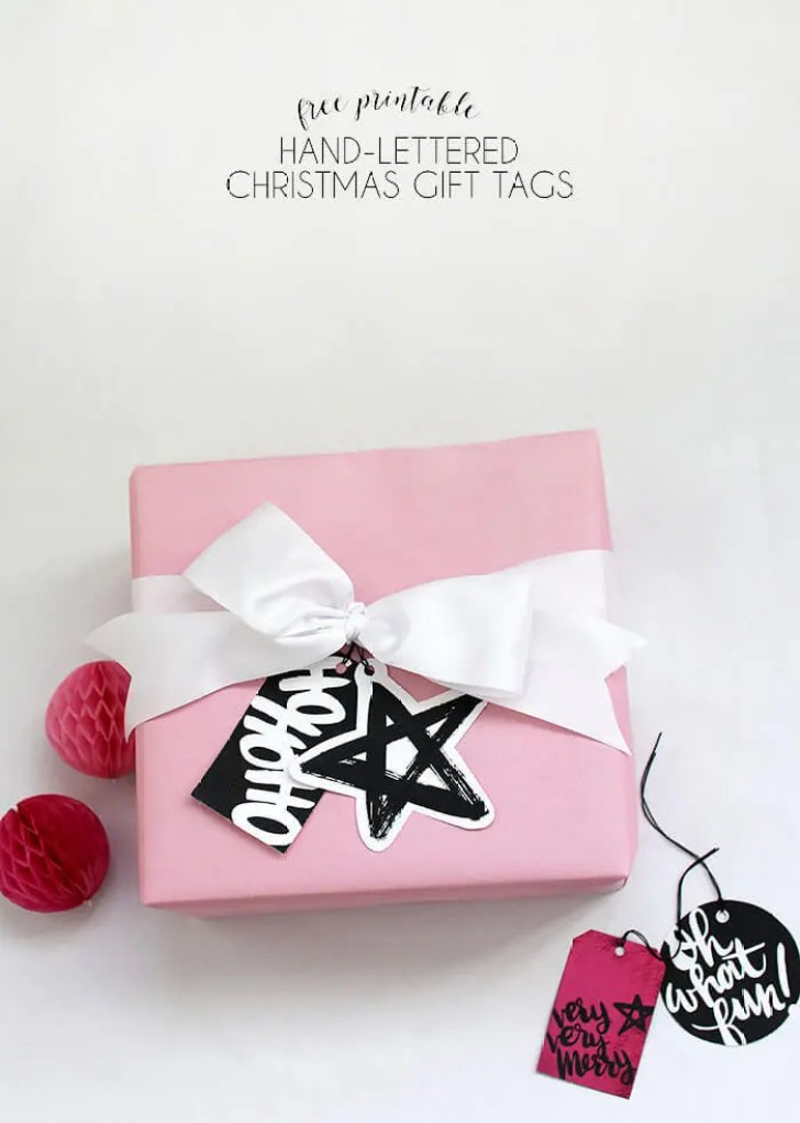 free printable hand lettered black and white Christmas gift tags