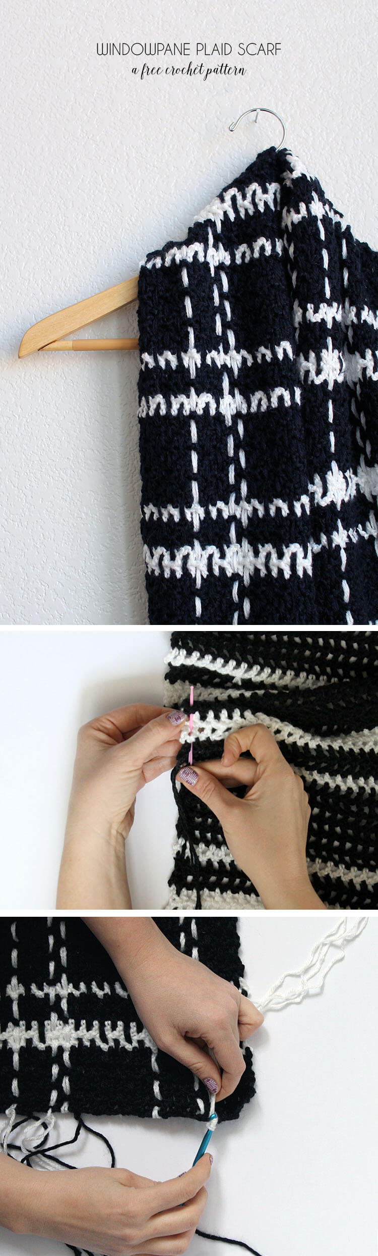 black and white windowpane plaid crochet scarf - this is easier than it looks! - free pattern and photo tutorial