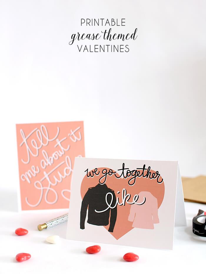 printable grease valentines header