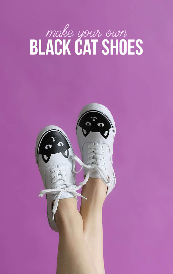 DIY cat shoes - make your own custom sneakers easily with heat transfer vinyl. Free cut file