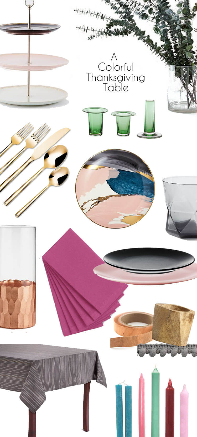 everything you need to build a beautiful, colorful, and modern table this thanksgiving