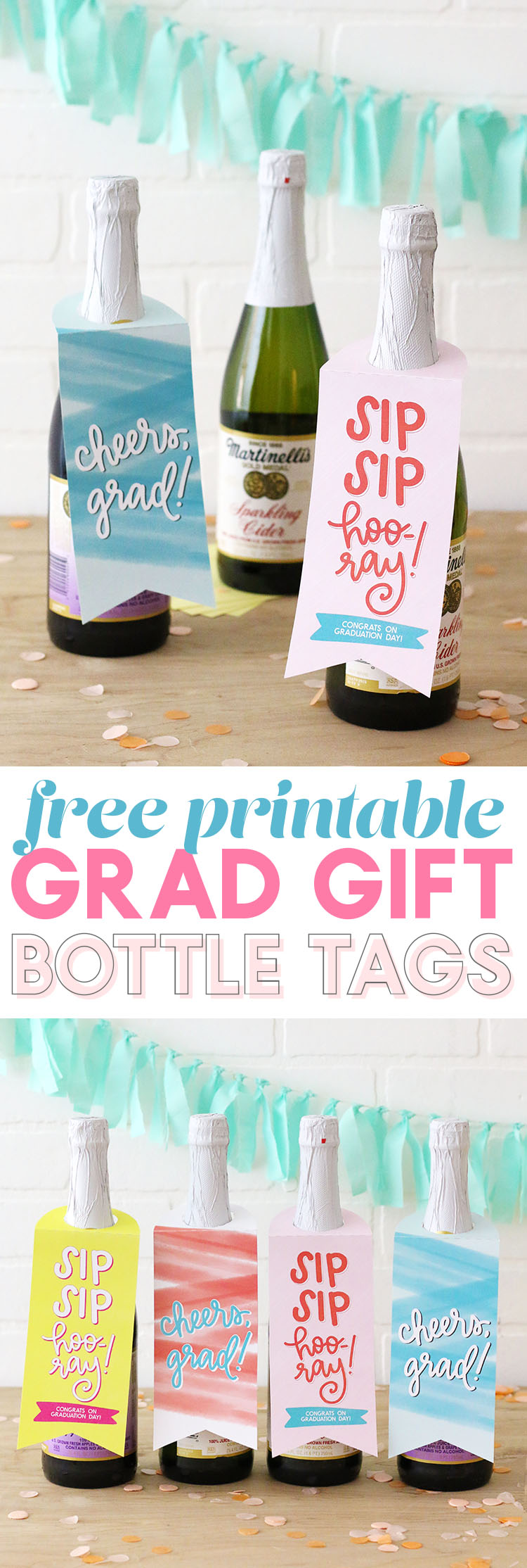 grad gift idea - free printable bottle tags for graduates - so cute on a bottle of sparkling cider - Cheers, grad!