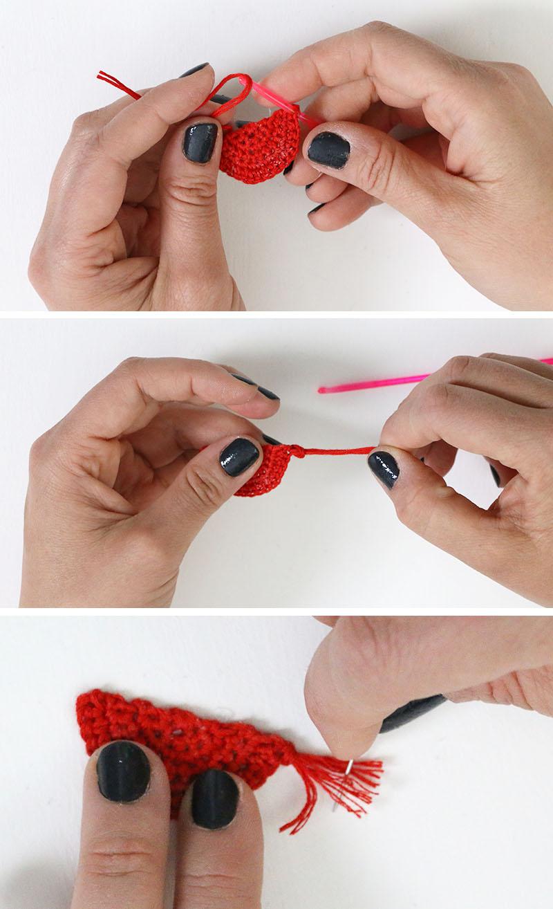 add tassels - crochet earrings