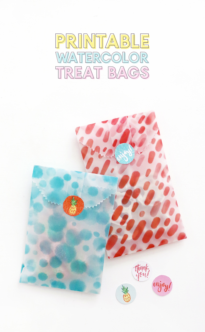 make your own printable treat bags - free download - watercolor papers and stickers