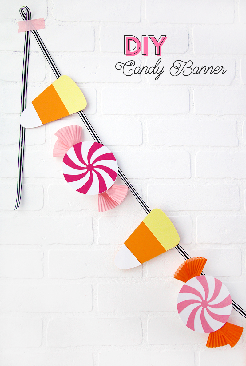 How to make a DIY Candy Banner for Halloween - cute Halloween party decorations