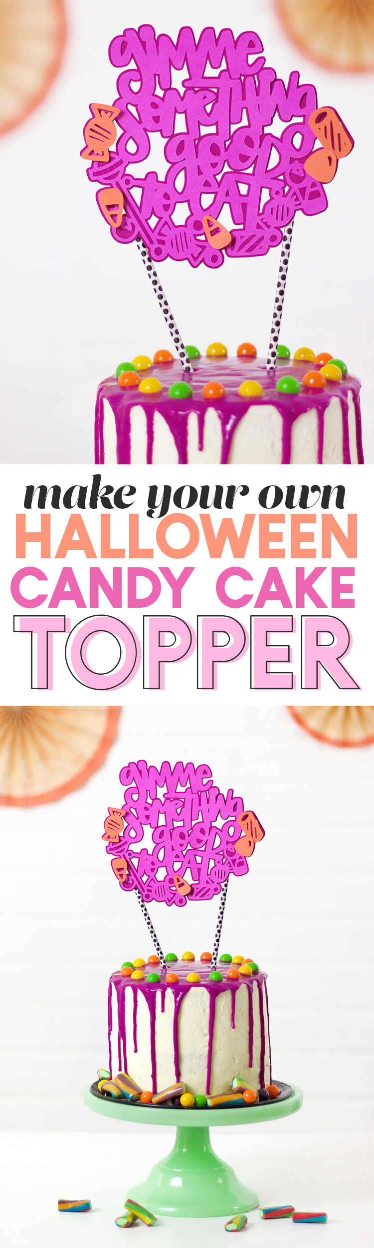 DIY halloween cake topper - Halloween candy cake SVG cut file