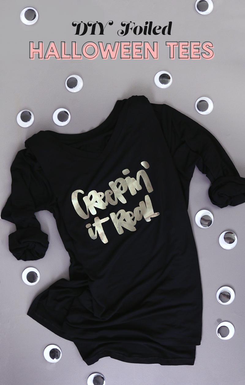 learn how to make diy custom foil shirts - free halloween themed cut files - cute diy halloween shirt