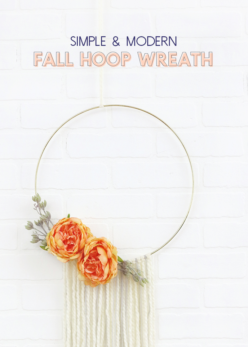 make your own modern fall wreath - simple hoop wreath with flowers and yarn