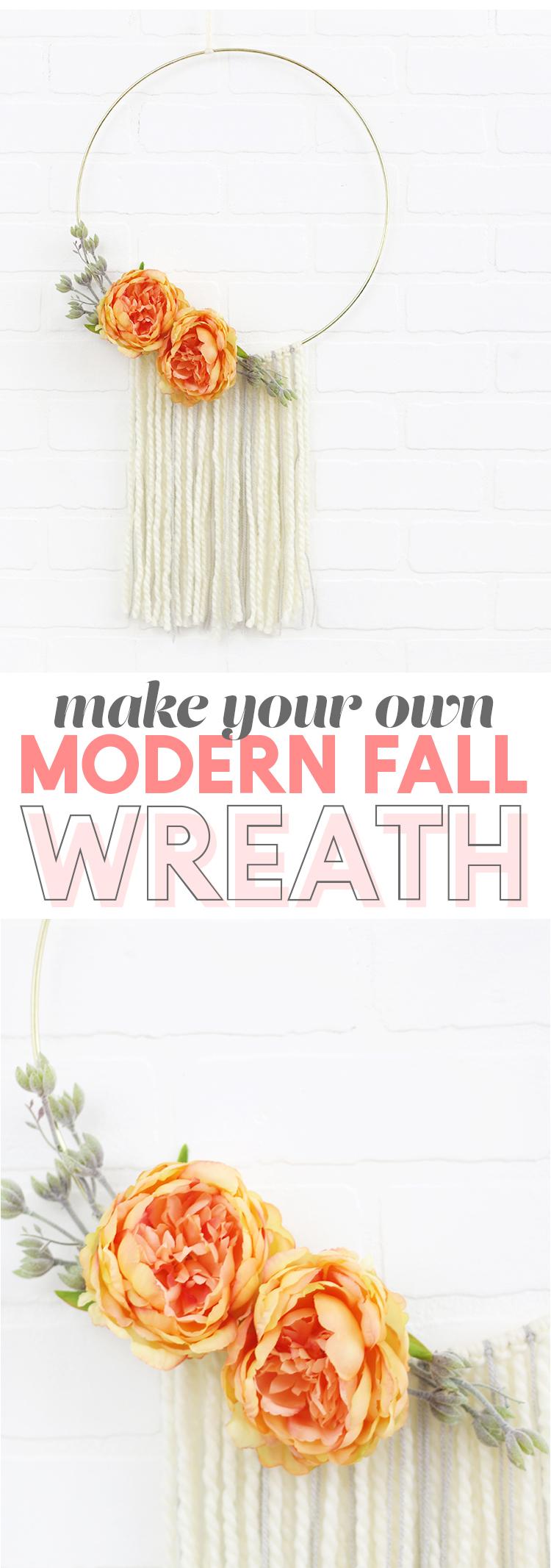 diy modern fall wreath - simple hoop wreath with yarn and flowers