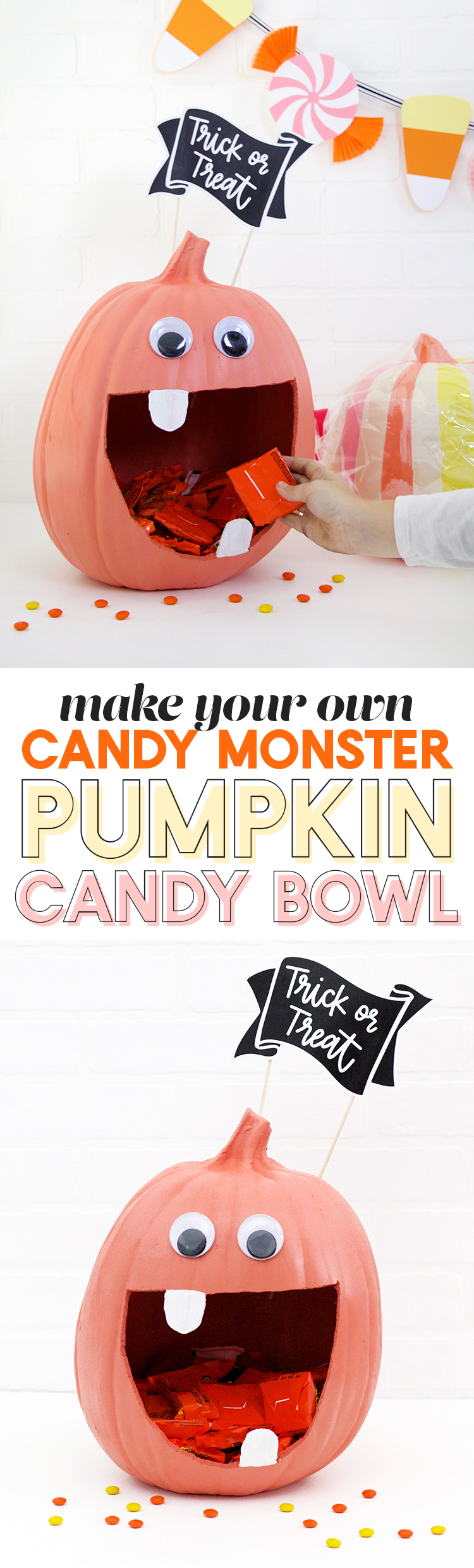 how to make a cute candy monster diy pumpkin candy bowl