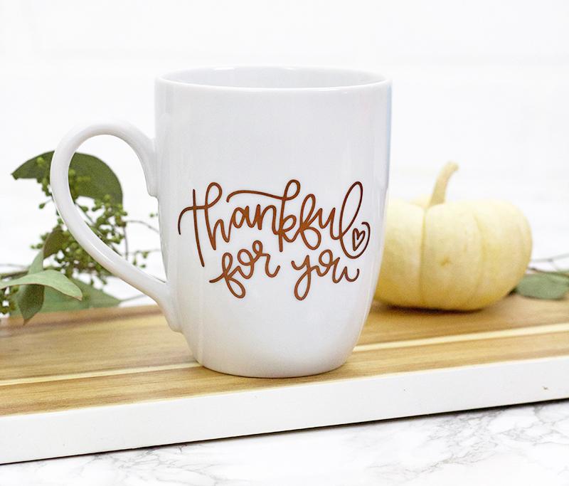 thankful for you diy thanksgiving mug - thanksgiving svg cut file