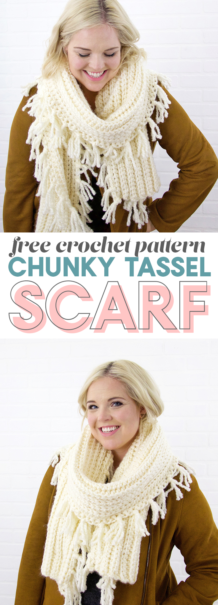 free crochet scarf pattern - love the look of this chunky tasseled scarf