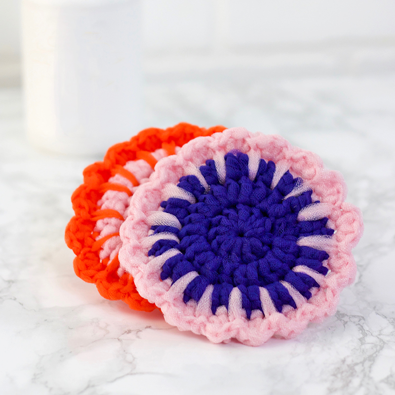 crochet tulle scrubbers