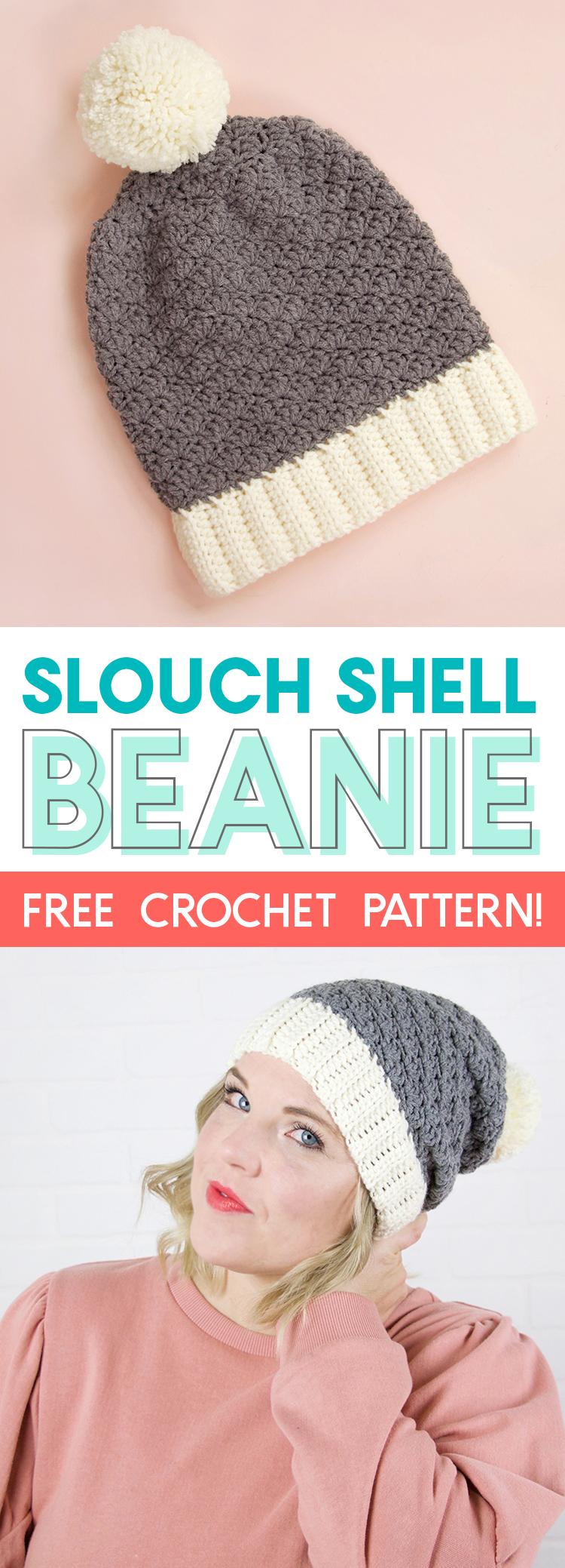 slouch shell hat crochet pattern