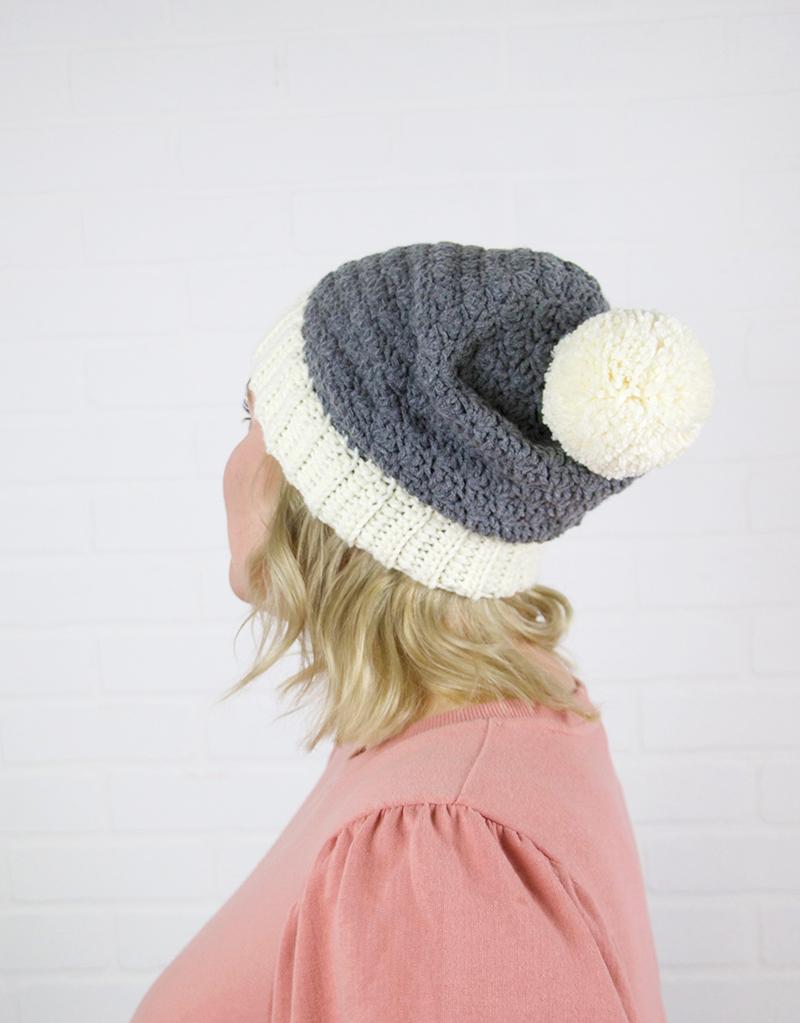 slouch shell crochet hat pattern back