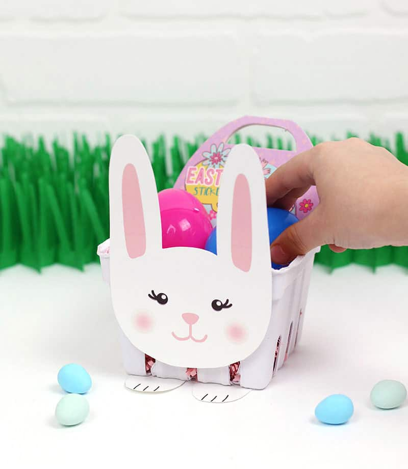 diy paper bunny basket filled with Easter treats