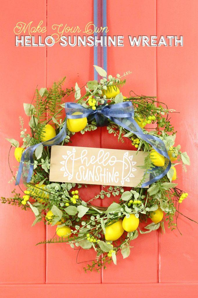 DIY hello sunshine lemon wreath