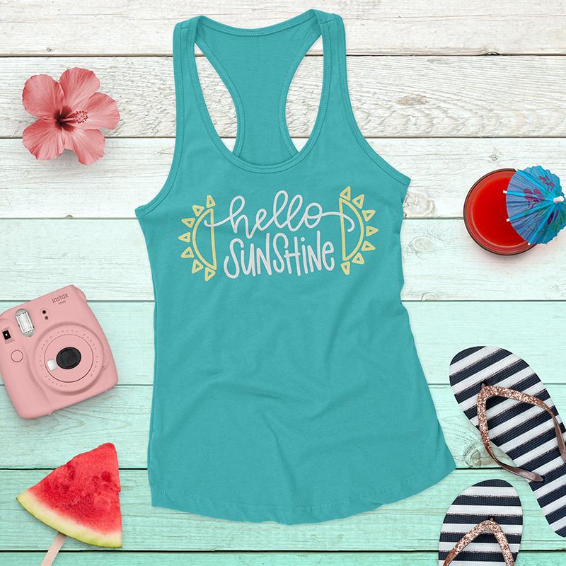 free hello sunshine cut file - make your own hello sunshine tank
