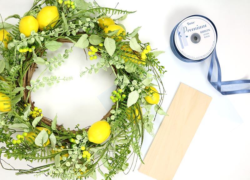 diy lemon wreath sign supplies
