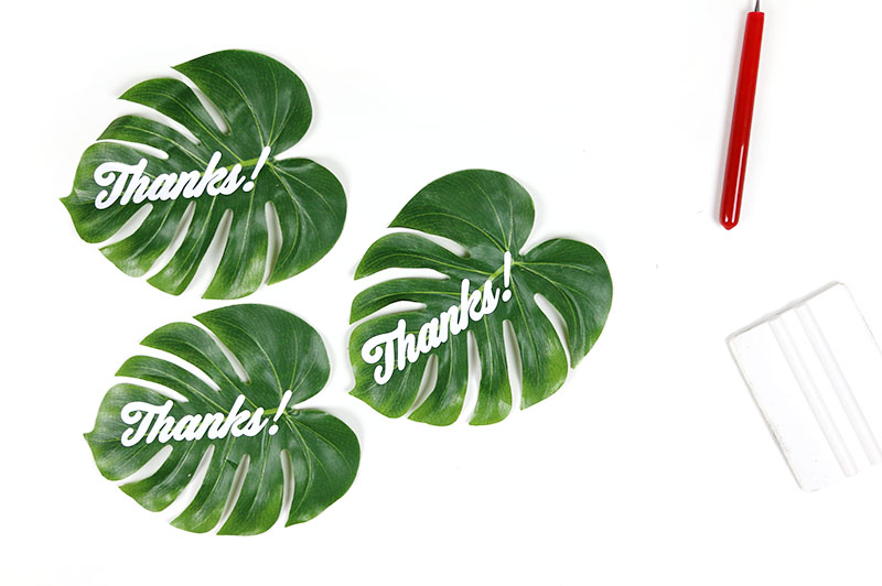 leaves with vinyl for tropical gift bags