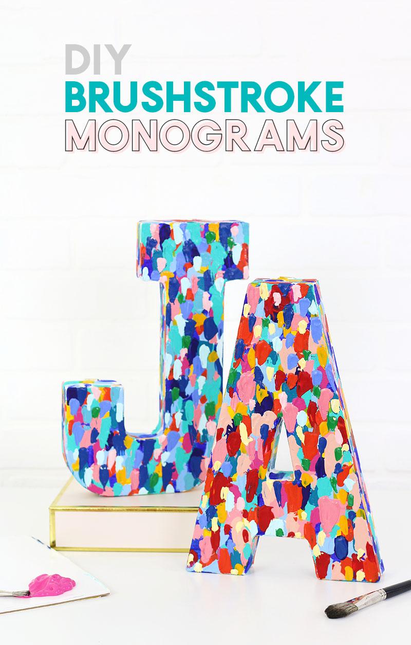 diy brushstroke monograms DIY art project