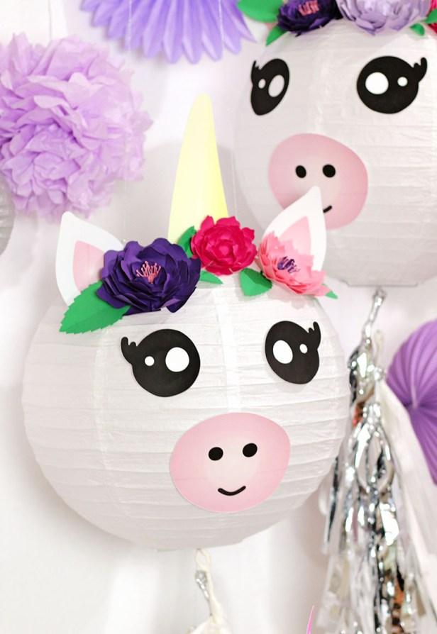 diy unicorn lantern party decorations