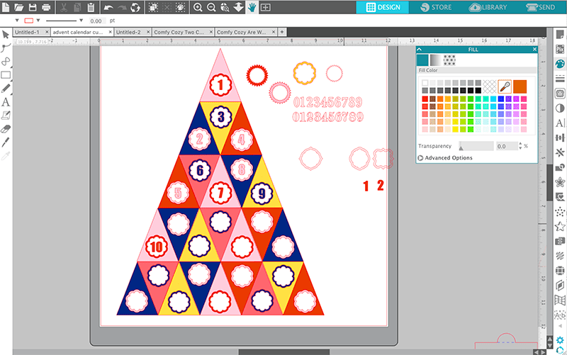 layout for silhouette advent calendar in silhouette studio