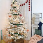 Modern Natural Flocked Green And Pink Christmas Tree Persia Lou