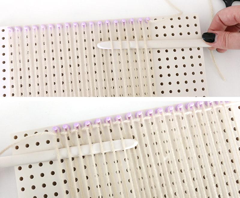 weaving first rows diy woven bag