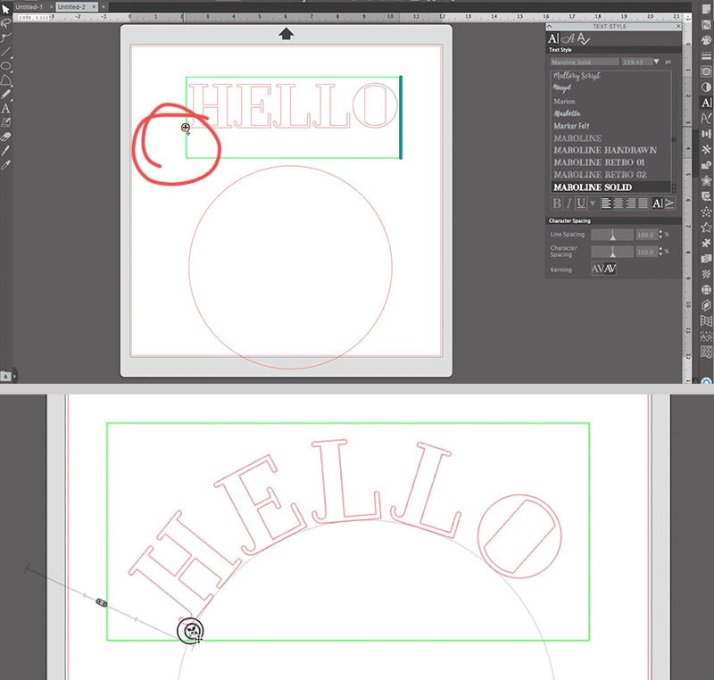 how to curve text in silhouette studio