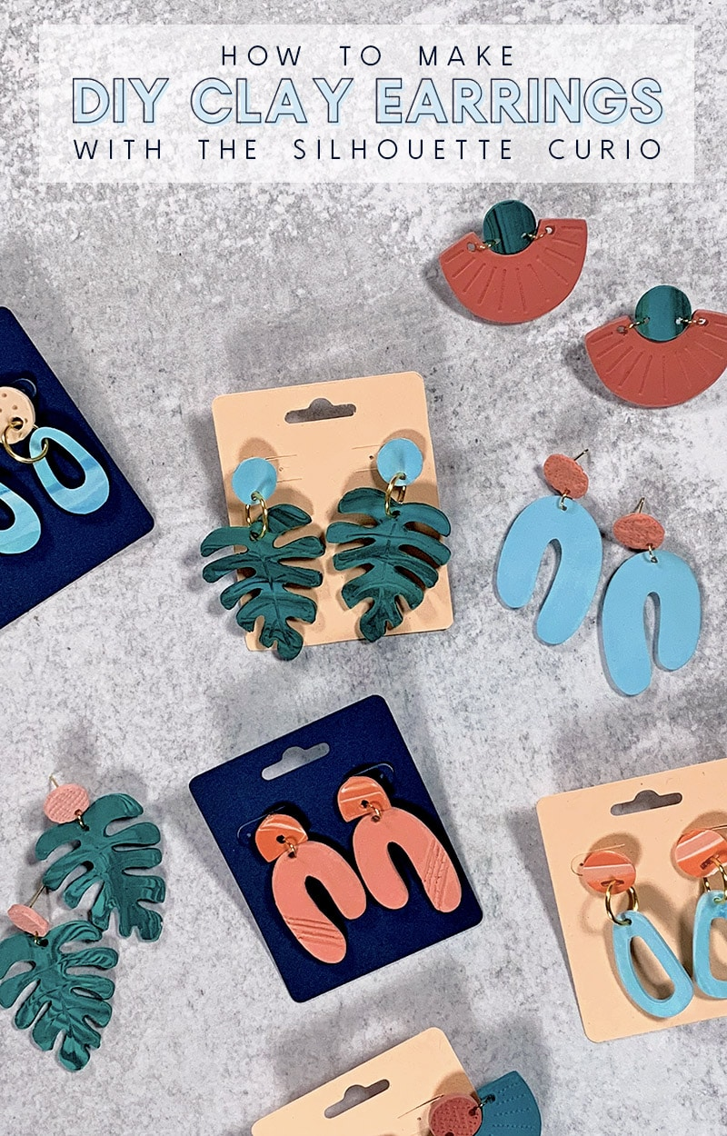 diy clay earrings made with the silhouette curio