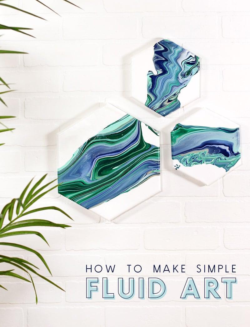 Three hexagon fluid art marbled art pieces. How to make easy acrylic fluid art.