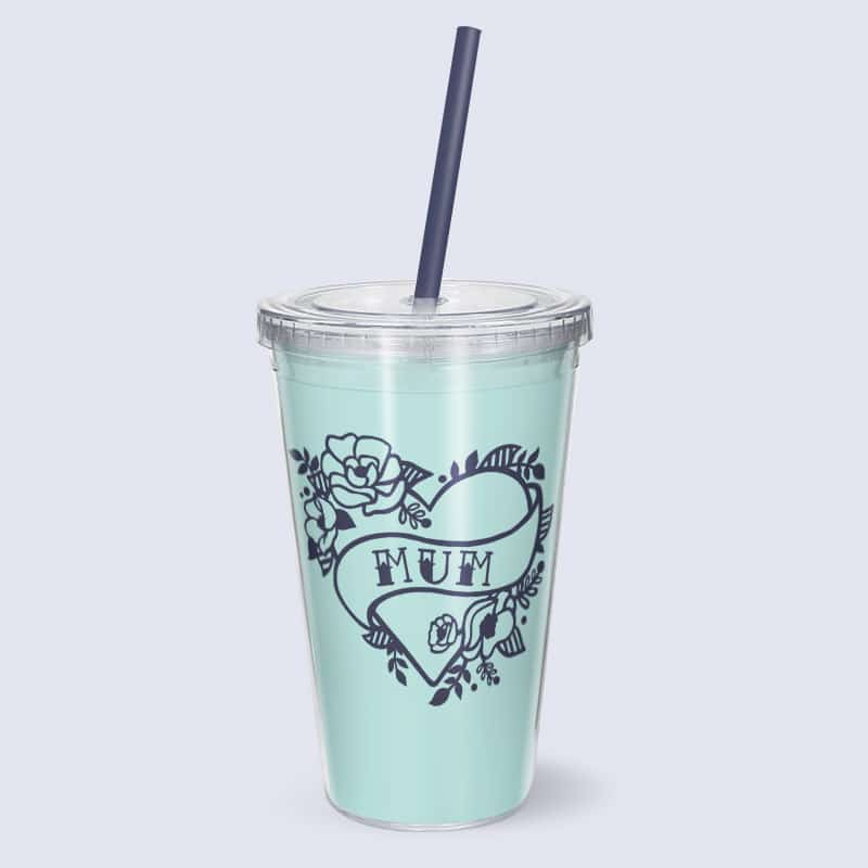 free mum heart tattoo svg cut file on cup with straw