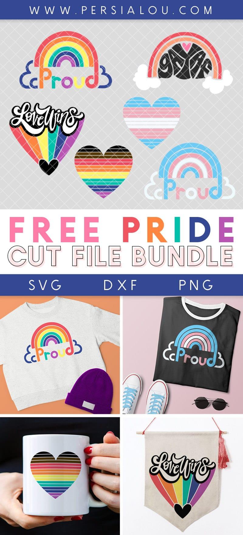 free lgbtqai+ svg cut file designs collage of pride cut file designs