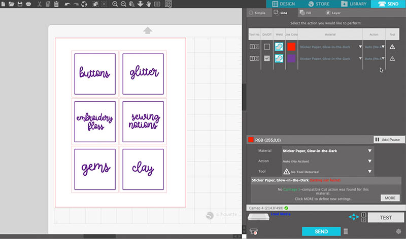 screen capture of the silhouette studio software