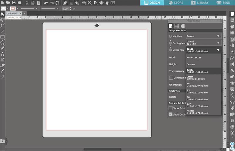 Page Setup menu in Silhouette Studio software.